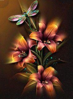 Flowers & Dragonfly DIY Paint By Diamond Kit – Original Paint By Diamond Beau Gif, Flowers Gif, Dragonfly Art, Dragonfly Painting, Painting Flowers, Butterfly Wallpaper, 5d Diamond Painting, Fractal Art, Beautiful Roses
