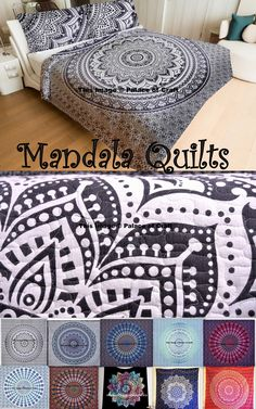 100% Cotton fabric Hand Kantha Quilted Queen Size MANDALA Quilt , Blanket / Bedspread. Threads are used to develop the Kantha pattern. Layers of Cotton quilt is hand embroidered with straight stitches to create a unique product,thus it's a perfect GIFT too. #quilt #vintage #kantha #bedspread #handicraftpalace #boho #hippie #room #decor #ethnic #love #India #life #colourful #cotton #traditional #free #shipping #worldwide #handmade #rajasthan #artist #mandalaquilt #freeshipping #Floral