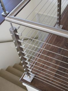 Modern Staircase railing Design Ideas, Pictures, Remodel and Decor Modern Staircase Railing, Cable Stair Railing, Modern Stairs, Staircase Design, Staircases, Balcony Grill Design, Window Grill Design, Steel Railing Design, Indoor Railing