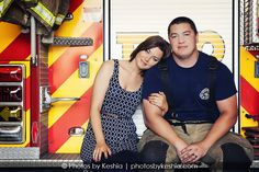 Firefighter engagement session Photos by Keshia  Engagment session at a fire station