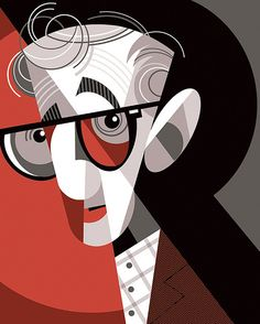 Woody Allen by Pablo Lobato - illustration Art Pop, Illustration Design Graphique, Illustration Art, American Illustration, Deco Cinema, Ode An Die Freude, Arte Pink Floyd, Tableau Pop Art, Pablo Picasso