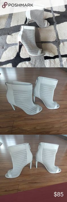 💞Closet Clear Out💞BCBG open toe booties BCBGMAXAZRIA open toe booties. The back zip, zip closure, open toe, textile and leather upper, manmade lining, leather sole Worn few times. Good condition BCBGMaxAzria Shoes Ankle Boots & Booties