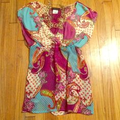 "Host PickPaisley Print Baby Doll Top Stunning colors in a fabulous fit top. Semi-sheer in the torso. This is a gently loved too but in excellent condition! ""Statement style"" host pick 9/12 Flourish  Tops"