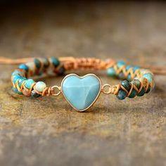 From the Heart Amazonite Bracelet - Earth Healing Stones Bracelets Wrap En Cuir, Love Bracelets, Beaded Bracelets, Charm Bracelets, Beaded Jewelry, Heart Bracelet, Stone Bracelet, Bangle Bracelet, Amethyst Armband