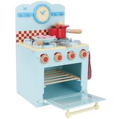 Oven And Hob Set Le Toy Van Honeybake wooden oven and hob set features a 4 ring hob with movable knobs, a saucepan with a lid and egg, kitchen utensils, a frying pan with egg and bacon. Comes with gingham oven gloves. The carton measures 31 x 11.5 x 49cm and the product 30 x 49 x 34.5cm.