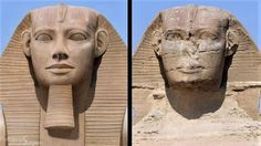Amazing Photoshop restoration for the great Sphinx of Giza, back to the original shape 5000 years ago Ancient Egyptian Architecture, Ancient Egyptian Art, Ancient History, Ancient Ruins, Ancient Mysteries, Ancient Artifacts, Egypt Concept Art, Mystery, Giza