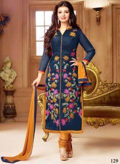 Ayesha Takiya Navy Blue Mustard Thread Work Cotton Churidar Suit #Suits #Anarkali #Salwar   http://www.angelnx.com/Salwar-Kameez