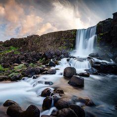 Öxarárfoss at midnight. Midnight Sun, Iceland, Waterfall, Explore, Photos, Life, Outdoor, Ice Land, Outdoors