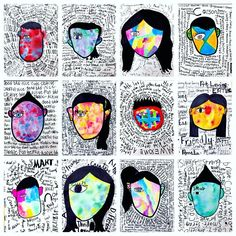 Best 12 Abstract self portraits inspired by cover art for Wonder. Fifth graders drew their face and hair. Traced with bold lines and colored the hair in like a silhouette. They spent two Class days exploring three different paint materials/ Cover Art, Arte Elemental, Self Portrait Art, Self Portraits, Portraits For Kids, 6th Grade Art, Art Lessons Elementary, Elementary Art Rooms, Art Education Lessons
