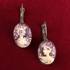 Vintage Gold Tone Framed Maroon Grecian Goddess Cameo Pierced Earrings MV125. Starting at $1