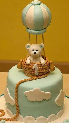 Baby boy birthday cupcakes ideas for 2019 Torta Baby Shower, Baby Birthday Cakes, Baby Boy Cakes, Fondant Cakes, Cupcake Cakes, Lemon Cupcakes, Strawberry Cupcakes, Hot Air Balloon Cake, Teddy Bear Cakes