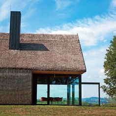 Holiday House in Croatia / Hiza-contemporary cottage / PROARH Architectes Historical Architecture, Residential Architecture, Amazing Architecture, Contemporary Architecture, Architecture Design, Pavilion Architecture, Sustainable Architecture, Thatched House, Thatched Roof