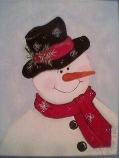 Gotta love snowmen :) acrylic paint on a canvas