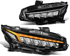 Amazon.com: Pair Type-R Style LED DRL+Sequential Chasing Turn Signal Headlight Lamp Set Replacement for Honda Civic 16-18: Automotive