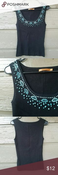 Belldini Black Turquoise  Embelished Top Excellent condition  Feel free to ask me any additional questions! Reasonable offers?are considered. Happy Poshing!! No trades, or modeling Belldini Tops