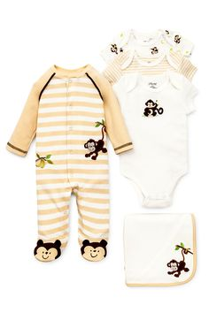 One little monkey jumping on the bed! Check out our Monkey Baby Boy Essentials Set. Keep clothes soft with Dreft!