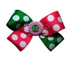 DZ Delta Zeta Sorority Pink and Green Hair Bow. $6.00, via Etsy.