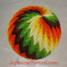 Candy Corn Japanese Temari ball for sale by JapaneseTemari on Etsy
