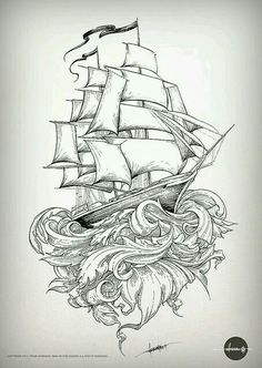 Old school shipping is part of Ship tattoo - The latest on the still inprogress piece I'm doing for a very, very patient friend Stay tuned, there's still a long way to go! Hai Tattoos, Body Art Tattoos, Sleeve Tattoos, Ship Tattoo Sleeves, Sea Tattoo Sleeve, Tatoos, Tattoo Sketches, Tattoo Drawings, Trendy Tattoos
