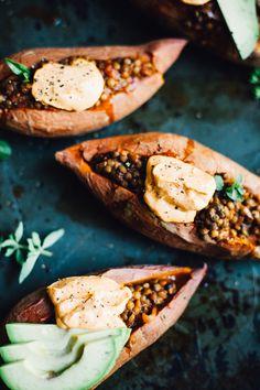 vegan lentil sloppy joe stuffed sweet potatoes | recipe via willfrolicforfood.com