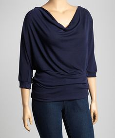 This Navy Drape Dolman Top - Plus by Poliana Plus is perfect! #zulilyfinds