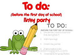 Back to School To Do List from First Grade Brain - Link to Linky Party hosted by Lorraine from Fabulous 4th Grade Froggies