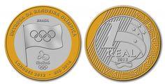 Moedas mais raras e caras do Real - 4 Lugar - Moeda de 1 R$ da bandeira olímpica…