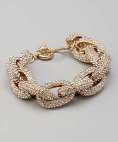 Take a look at this Accessory Concierge Gold Pave Link Bracelet on zulily today!