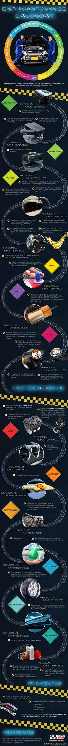 #Car Maintenance Calendar - Do you fancy an infographic? There are a lot of them online, but if you want your own please visit http://www.linfografico.com/prezzi/ Online girano molte infografiche, se ne vuoi realizzare una tutta tua visita http://www.linfografico.com/prezzi/