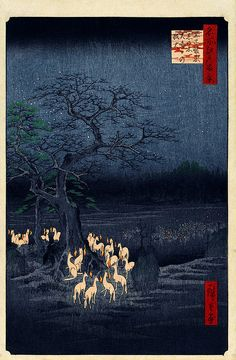 Hiroshige: New Year's Eve foxfires at the changing tree, Oji, 1857.