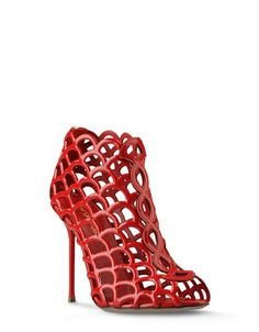 Red Leather Mermaid Bootie from SergioRossi.com