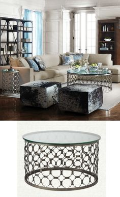 Naomi Round Coffee Table With Glass Top In Pewter