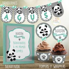 Kit Imprimible Osito Panda Nene, Decoración Bautismo, 1 Añito, Baby Shower Baby Shower Oso, Panda Painting, Panda Party, Ideas Party, Birth Chart, Frases, Bear Decor, Panda Decorations, Funny Baby Showers