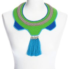 knitted necklace with cotton thread in shades of blue and light green, gray/beige synthetic cord, decorated with handmade turquoise tassels