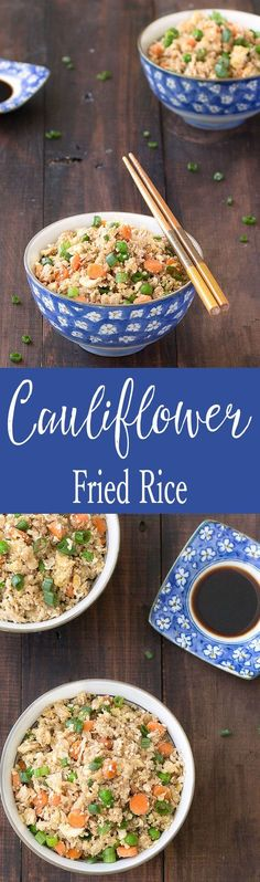 This cauliflower fried rice is quick and easy to make! It's healthy, low carbs, low calories and grain-free