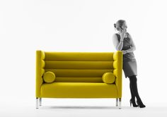 Morgan. Ribb.Two Seat High Back Sofa 366CH. The Ribb is a reception and lounge seating group. Its distinguishing square exterior is contrasted by a ribbed interior.