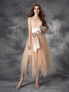 4cd93d20776329 Champagne Asymmetrical Tulle Homecoming Dresses