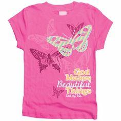 Butterflies Girls Christian T-Shirt by Gardenfire $11.99