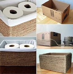 27 cosas que puedes reciclar y darles un doble uso en tu hogar DIY recycled cardboard box organizer for toilet paper was lined with white fabric and decorated with ribbon
