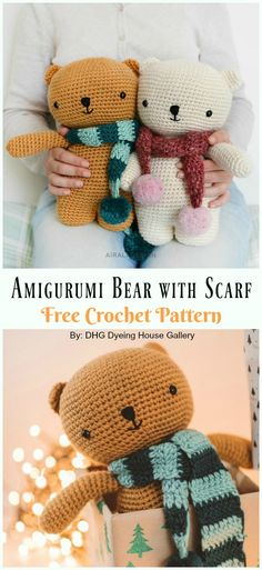 crochet teddy bear pattern Amigurumi Crochet Teddy Bear Toys Free Patterns Amigurumi Bear with Scarf Free Crochet Pattern - Crochet Teddy Free Patterns Crochet Amigurumi Free Patterns, Crochet Animal Patterns, Crochet Bear, Cute Crochet, Crochet Dolls, Amigurumi Tutorial, Crochet Teddy Bear Pattern Free, Crochet Gifts, Crochet Elephant
