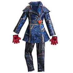 Trick or treat on trend in this tempting costume from <i>Descendants 2</i>. The leather look trenchcoat is matched with synthetic stretch print leggings - plus a pair of fingerless gloves - for that authentic Evie look you've envied.