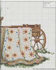 """Sunflower Romance ~ Quilts From The Garden"" a cross stitch pattern by Paula Vaughan.   Saved from liveinternet.ru    *** I am so thrilled to have found this pattern!!!"