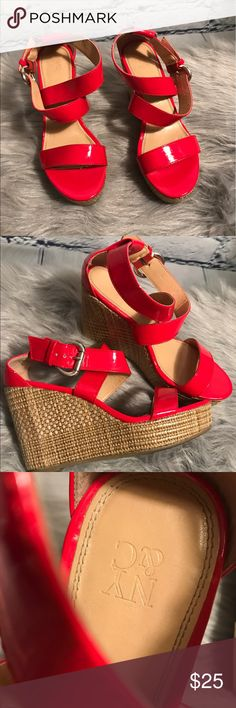 New York And Company Red Patent Wedges New York and Company Red Patent Wedges GUC       No Trades No Box Size 8 New York & Company Shoes Wedges
