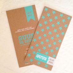 Geboortekaartje Guus | Kaartje op Karton | Letterpress stijl en zeefdruk geboortekaartjes