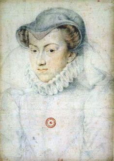 circa 1574 - Elisabeth d'Autriche en veuve - Elizabeth, Queen Consort of Charles IX, as a widow - preparation study for a painted portrait (1554–1592), in the collection of the BnF,  Bibliothèque nationale de France