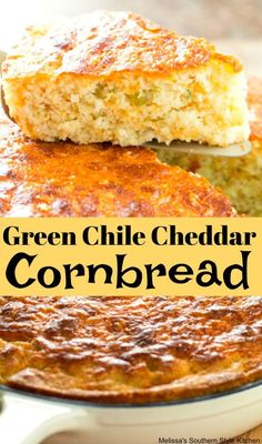 Cheesy with a touch of spice this Green Chile Cheddar Cornbread is ideal for serving as a sidekick for soup, stew, pinto beans and beyond. Mexican Cornbread, Chili And Cornbread, Cornbread Recipes, Fried Cornbread, Homemade Cornbread, Cornbread Casserole, Corn Recipes, Homemade Breads, Muffin Recipes