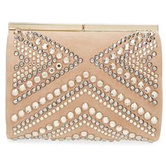 Jimmy Choo 'Cate' Crystal Embellished Minaudiere (£680) ❤ liked on Polyvore featuring bags, handbags, clutches, nude, nude purses, glitter clutches, glitter purse, nude clutches and jimmy choo handbags