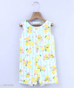 Checkout this latest Dungarees & Jumpsuits Product Name: *Beebay Girls Lemon & Stripe Print Jumpsuit (Turq)* Fabric: Cotton Sleeve Length: Sleeveless Pattern: Printed Multipack: 1 Sizes:  0-3 Months (Bust Size: 19 in, Length Size: 2 in, Waist Size: 17 in)  3-6 Months (Bust Size: 19 in, Length Size: 2 in, Waist Size: 17 in)  9-12 Months (Bust Size: 20 in, Length Size: 2 in, Waist Size: 20 in)  12-18 Months (Bust Size: 21 in, Length Size: 2 in, Waist Size: 20 in)  18-24 Months (Bust Size: 21 in, Length Size: 2 in, Waist Size: 21 in)  2-3 Years (Bust Size: 22 in, Length Size: 3 in, Waist Size: 21 in)  4-5 Years (Bust Size: 22 in, Length Size: 3 in, Waist Size: 22 in)  5-6 Years (Bust Size: 23 in, Length Size: 3 in, Waist Size: 22 in)  6-7 Years (Bust Size: 24 in, Length Size: 4 in, Waist Size: 23 in)  7-8 Years (Bust Size: 24 in, Length Size: 4 in, Waist Size: 24 in)  8-9 Years (Bust Size: 25 in, Length Size: 4 in, Waist Size: 24 in)  Country of Origin: India Easy Returns Available In Case Of Any Issue   Catalog Rating: ★4 (255)  Catalog Name: Cute Trendy Kids Girls Dungarees & Jumpsuits CatalogID_1161529 C62-SC1156 Code: 845-7264728-0801