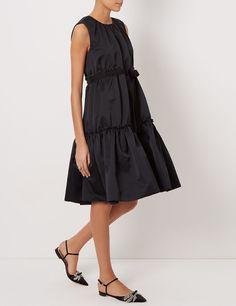 Black Satin Tiered Peplum Dress
