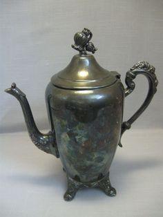 Eton Silver Co Silver Plate Tea Pot Flower Foot & Lid Handle 1960-Till #EtonSilverCo